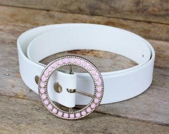 Vintage Pink Rhinestone & White Leather Belt