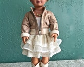 Doll clothing for 18 inch dolls. Jacket, dress, boots, and TWO BONUS GIFTS.