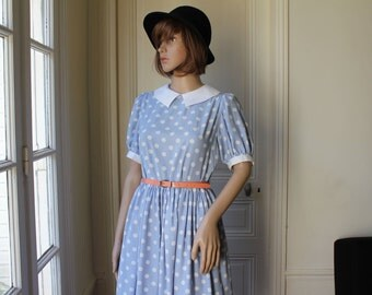 Polka dots dress light blue white peter pan collar petticoat grunge babydoll kawaii collared dress Trussardi Jr - XS / S