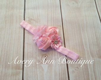 Pink Headband, Flower Girl Headband, Baby Pink Headband, Newborn Pink Headband, Flower Headband, Holiday Headband, Light Pink Headband