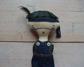 Cloth doll - Boy doll  in glasses-  Textile doll - Soft stuffed toy - Interior doll - Black color hair - Rag doll .