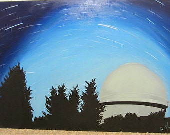 Meteor Shower Over Observatory Original Acrylic Painting, Wall Art, Landscape, Original Art Work, Canvas Painting, Unique One of a Kind