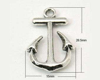 4 Antiqued Silver Anchor  Charms