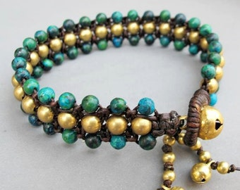 Chrysocolla Beaded Woven Bracelet with Brass Bead.