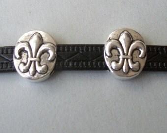 10 x Schiebeperlen spacer fleur de lis silver leather band, etc