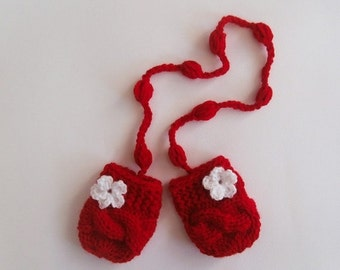 SPRING SALE 15% OFF Knit Baby Mittens , Baby Girl Mittens ,Baby Thumbless Mittens, Warm Baby Mitts