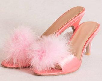 Vintage style kitten heel slippers pink
