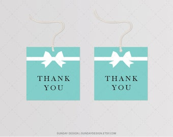INSTANT DOWNLOAD /  Teal and Ribbon Favor Tag - Printable Digital File - Hang Tags, Thank You Tag, Gift Tags - Baby & Co.