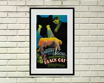 "Reprint of a Vintage 1930s Movie Poster - ""Black Cat"" with Boris Karloff"