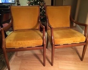 Gorgeous pair of mid century arm chairs in yellow mustard gold velour