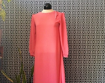 Vintage 1970s Sheer Blush Pink 3/4 Sleeve Midi Dress