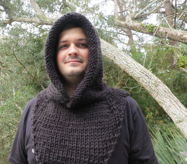 Mens Hooded Poncho Knitting Pattern : Knittin Pattern, Hat Knitting Pattern, Mens Hooded Cowl ...