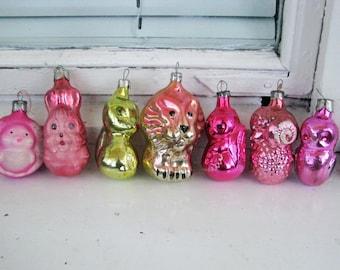 Set of 7 Soviet Christmas tree decoration, Animals Mercury Glass Christmas Glass Ornament - Made in USSR