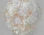 Brooch Bouquet. Ivory Fabric and pearls  Bouquet, Vintage Bouquet, Rustic Bouquet. Ready to ship.