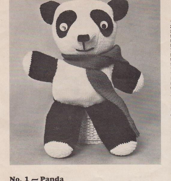 Vintage Pattern Book 1960s Knit & Crochet Toys,Panda, Cat Doorstop Tea Co...