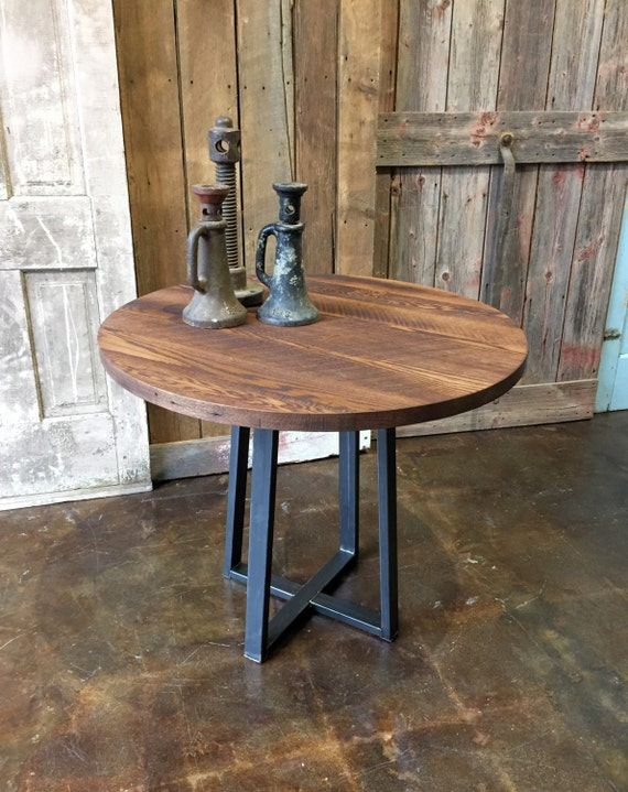 Round Industrial Dining Table Reclaimed Wood Steel Pub