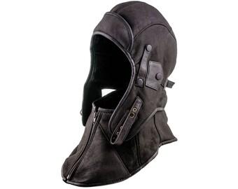 Genuine Shearling Leather Aviator / Bomber / Ushanka style Cap with detachable collar - walnut brown
