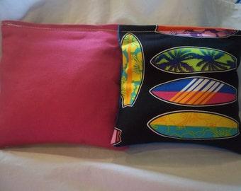 8 ACA Regulation Cornhole Bags - Surf Boards and Fuchsia - Tropical Ocean Theme