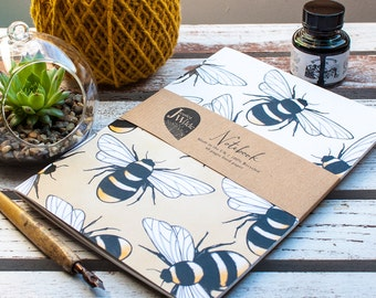 Busy Bumble Bee A5 Recycled Lined Notebook