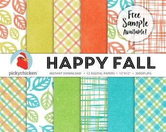 Fall Digital Paper - fall leaves, plaid digital paper, autumn digital paper, orange, teal, gold, green, woven photography backdrop 8087
