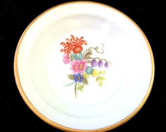 Round Hand Painted Floral Porcelain, Dresser Trinket Tray, Cottage Chic, Shabby Miniature Plate Jewelry Dressing Table, L. Ronchini