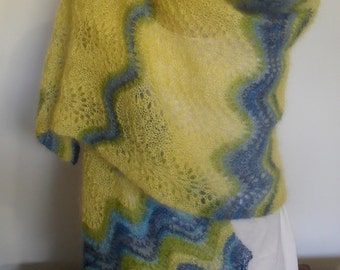 Reduced for sale, Stunning OOAK kidsilk haze mohair and silk shawl