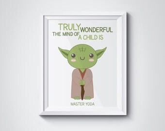 Star Wars Nursery Yoda Wall art printable - Truly wonderful the mind of a child is - PDF DIY Printable wall art - 8x10 inch