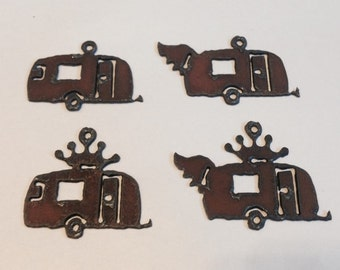 Trailer  CAMPERS (3) with Crown Wings  Charms Penant Cutouts made of Rustic Rusty Rusted Recycled Metal