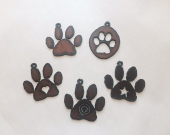 DOG PAW print (any 2) Pendant Cutout Made of Rustic Rusty Rusted Recycled Metal