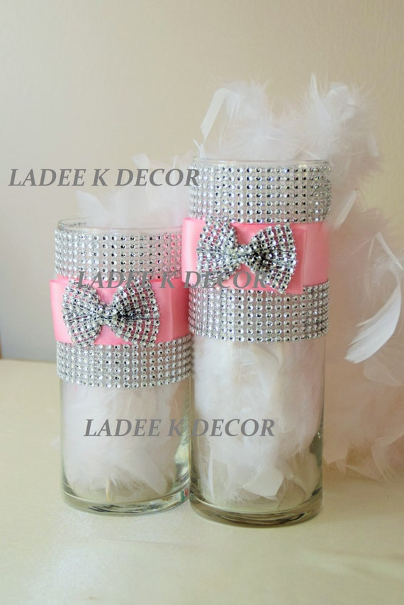 Set of two cylinder bling wedding sweet centerpiece vase