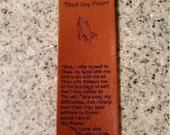 Leather book marker with the 3rd step prayer, aa recovery, alcoholic anonymous