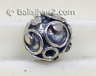 Bali Beads Sterling Silver Round 7 mm Bead # 1415-7mm  Ornate Bali Silver Beads