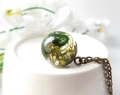 Terrarium necklace - little botanical orb with real moss - unique gift ideas, lovingly handmade in the UK by The Autumn Orchard
