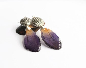 Purple petal earrings