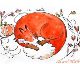 Napping Fox Print