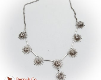 Filigree Flower Chain Necklace Sterling Silver