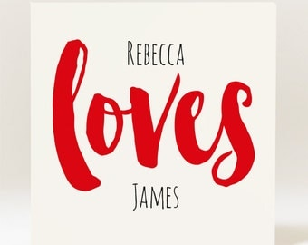Personalised Couples Love Valentine's Day/ Anniversary Card