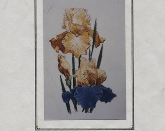 1998 Summertime Blues Iris Counted Cross Stitch Pattern Silver Lining  OOP