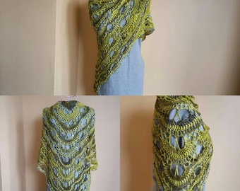 Green Multi-Hue Crochet Virus Shawl Crochet Shawl Green Shawl Green Wrap - Ready To Ship