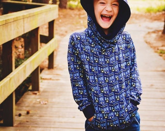 Boys and Girls Comfy Cowl Hoodie Sizes Newborn to 12 years - PDF Sewing Pattern