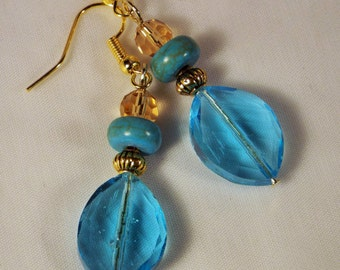 "Cynthia Lynn ""GOLDEN PISTACHIO"" Blue Green Turquoise and Golden Glass Crystal Earrings"