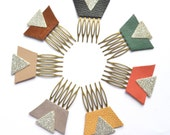 MUSTARD YELLOW - Small Hair Combs - Graphic, Trendy, Original - Leather and Silver Glitters on Brass