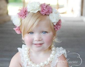 Dusty Rose Flower Crown Headband/Flower Crown Headband/Flower Headband Wedding/Baby Girl Headband/Girl Headband Baby/Toddler Headband/Baby