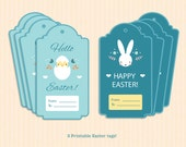 Easter Tags - Easter Gift Tags - Printable Hang Tags - EDITABLE Tags - Easter Bunny Tags - Chevron Favor Tags - INSTANT DOWNLOAD