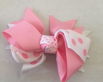 """Light Pink and White Polka Dot Hair Bow on Hair Clip 3 1/2"""""""