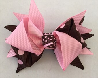 Pink and Brown Polka Dot Hair Bow on Hair Clip 3 1/2""