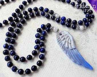 Archangel Zadkiel Mala Beads / Lapis Lazuli Prayer Beads / Angel Wing Mala Necklace / Angel Jewelry