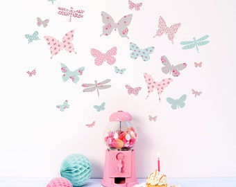 Mini Vintage floral Butterflies fabric wall stickers