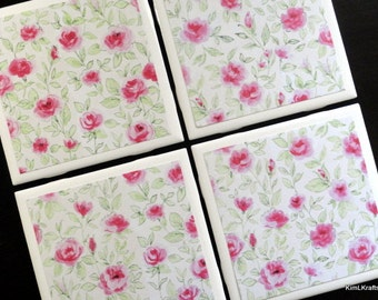 Pink Floral Coasters, Coaster, Coasters, Tile Coaster, Tile Coasters, Ceramic Tiles, Table Coasters, Drink Coasters, Coaster Set of 4
