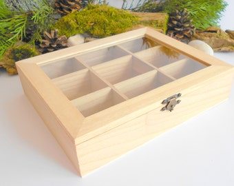 Wooden tea box with glass display- plain pine wood- 9 compartments display box- storage box, box for decoupage, unfinished box- herbs box